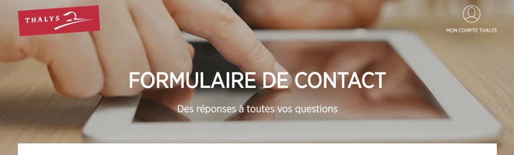 Contacter Thalys par formulaire